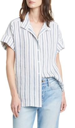 Frame Stripe Clean Collar Linen Blend Shirt