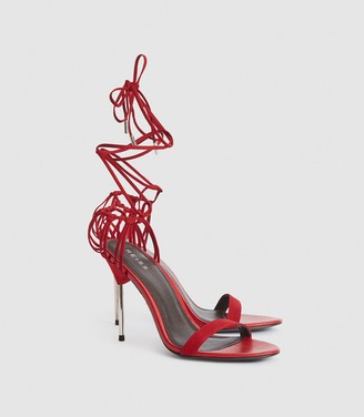 Reiss Zhane - Suede Strappy Sandals in Red