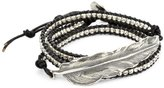 M.Cohen Handmade Designs Silver Feather and Silver Beads On Black Triple Wrap Bracelet
