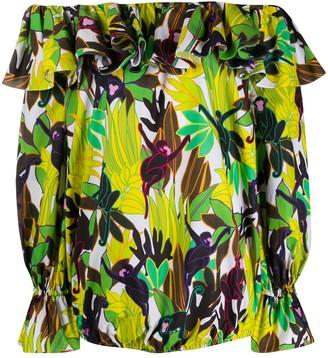 Valentino Leaf-Print Ruffled Blouse