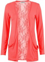 Forever Womens Long Sleeves Floral Lace Back Boyfriend Pocket Cardigan