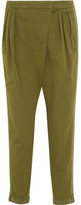 Givenchy Tapered Pants In Silk-trimmed Army-green Cotton-twill - Army green