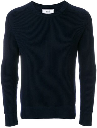 Ami Crew Neck Elbow Patches Fisherman's Rib Sweater