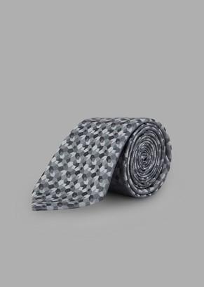 Giorgio Armani Tie In Jacquard-Embroidered Fabric With Geometric Motif