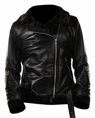 Plus Size 10-24 UK Red Punk Leather Biker Jacket Aviator Pilot Jacket Winter Warm Coat for Ladies BURFLY Womens Retro Fleece Bomber Flight Jacket