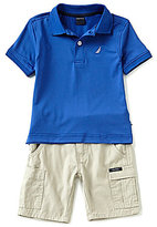 Nautica Little Boys 2T-4T Solid Short-Sleeve Polo Shirt & Cargo Shorts Set