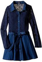 Ella Moss Crystal Long Sleeve Crochet Lace Dress (Big Kids)