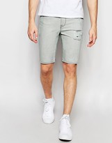 Asos Super Skinny Denim Shorts In Light Gray With Spray Coating