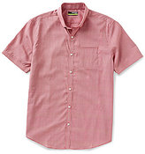 Murano Performance Stretch Twill Short-Sleeve Slim-Fit Hidden Button-Down Collar Plaid Shirt