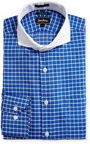 Neiman Marcus Trim-Fit Regular-Finish Check-Print Dress Shirt, Blue