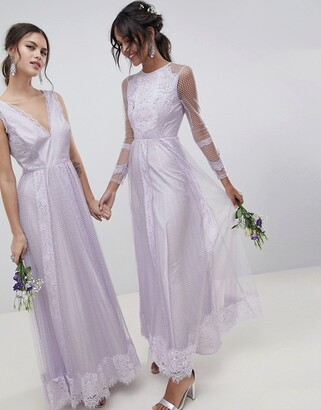 Asos Design DESIGN Dobby Mesh And Lace Mix Long Sleeve Maxi Dress