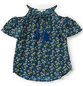 Copper Key Big Girls 7-16 Floral-Print Tassel-Tie Cold-Shoulder Top
