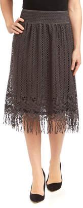 Pretty Angel Women's Casual Skirts DARK - Dark Gray Floral Lace Fringe Linen-Blend Skirt - Women