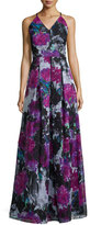 Phoebe Couture V-Neck Crisscross-Back Floral Gown