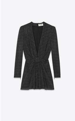 Saint Laurent Plunging V-Neck Mini Dress In Viscose With Micro Studs