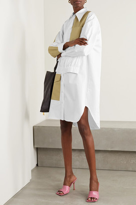 Tibi Two-tone Paneled Cotton-poplin Dress - White