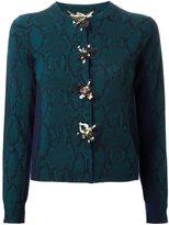 Muveil snakeskin print embellished cardigan - women - Wool - 40