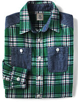Classic Boys Husky Flannel Shirt-Blue Grass Plaid