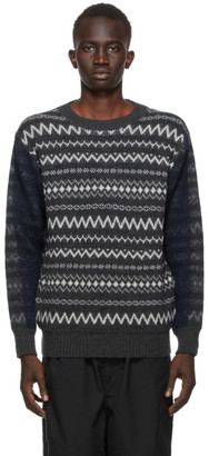 Comme des Garçons Homme Grey and Navy Wool Jacquard Sweater