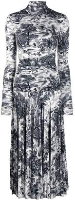 Victoria Victoria Beckham forest print pleated dress