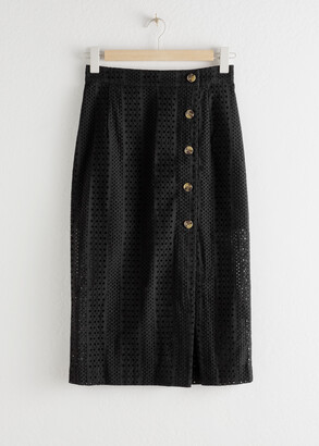 And other stories Cotton Dobby Pencil Midi Skirt