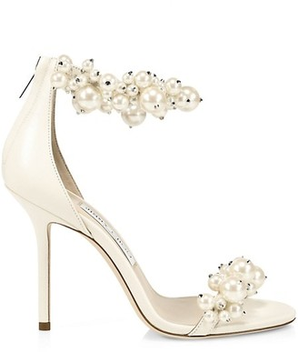 Jimmy Choo Maisel Faux Pearl-Embellished Leather Sandals