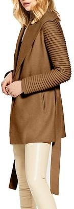 Sentaler Rib-Sleeve Wool & Alpaca Wrap Coat