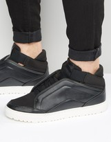 Asos Mid Top Sneakers in Black With Concealed Laces