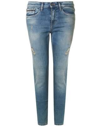 Calvin Klein Jeans Destructed High Rise Skinny Jeans Colour: BLUE, Siz