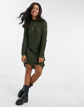 JDY knitted mini dress in green