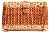 J.Mclaughlin Rylee Leather Weave Wicker Clutch