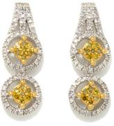 .72ctw Yellow and White Diamond Double Circle Drop 2-Tone Sterling Silver Earrings