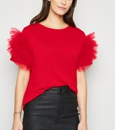 New Look Mesh Ruffle Sleeve T-Shirt