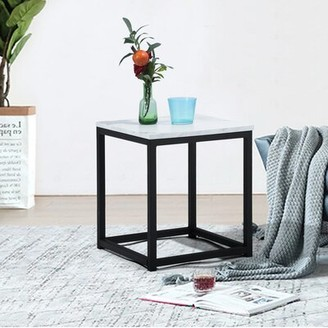 Williston Forge Katharyn Frame Coffee Table Table Top Color: Marble White
