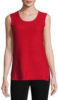 Misook Round Sleeveless Tank, Red, Plus Size