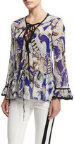 Roberto Cavalli Feather-Print Lace-Up Tunic Top, Blue/Rosa