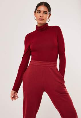 Missguided Red High Neck Long Sleeve Bodysuit