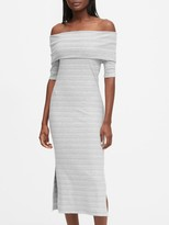 Banana Republic Petite Ribbed Off-the-Shoulder Dress