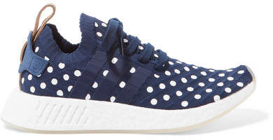 adidas Nmd r2 Leather-trimmed Polka-dot Primeknit Sneakers - Navy