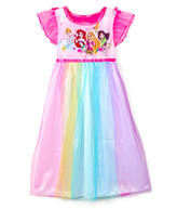 AME Girls' Nightgowns - Disney Princess Pink & Rainbow Angel-Sleeve Nightgown - Toddler & Girls
