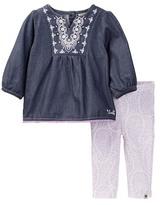 Lucky Brand Pompom Tunic & Printed Legging Set (Baby Girls 3-9M)