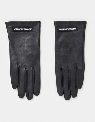 House of Holland leather gloves with logo in black