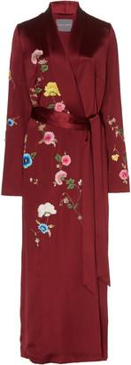 Monique Lhuillier Floral Embroidered Crepe Wrap Dress