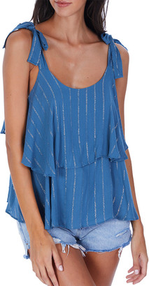 Allison Metallic Stripe Tiered Tank