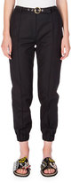 Kenzo Belted Cropped Cotton-Blend Track Pants, Black