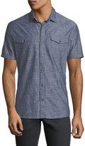 John Varvatos Snap-Front Short-Sleeve Sport Shirt