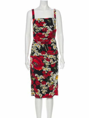 Dolce & Gabbana Silk Midi Length Dress Black
