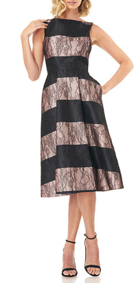 Kay Unger New York Sarah Sleeveless Striped Mikado Dress with Lace