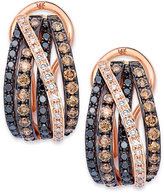 Effy Confetti by Multicolor Diamond Crossover Earrings (9/10 ct. t.w.) in 14k Rose Gold