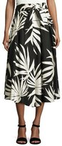 Milly Jackie Palm-Print Cotton Midi Skirt, Black